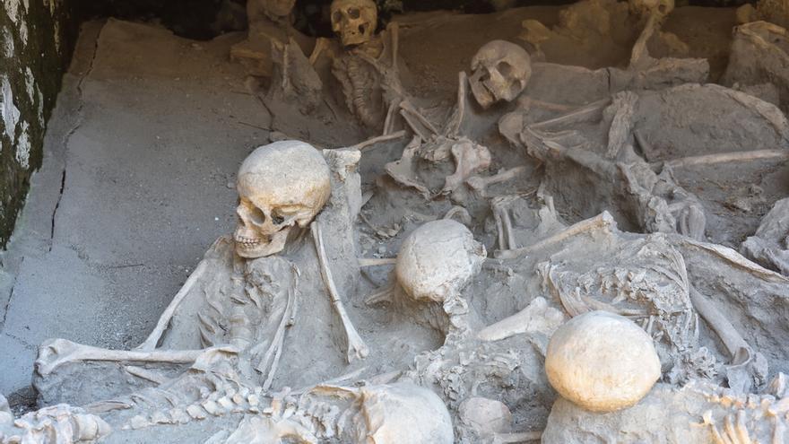 Encuentran en Herculano el esqueleto de un hombre que murió por la erupción del Vesubio