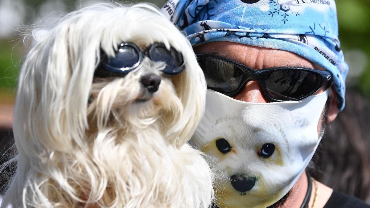 Un hombre con mascarilla sostiene a su perro en Alemania.