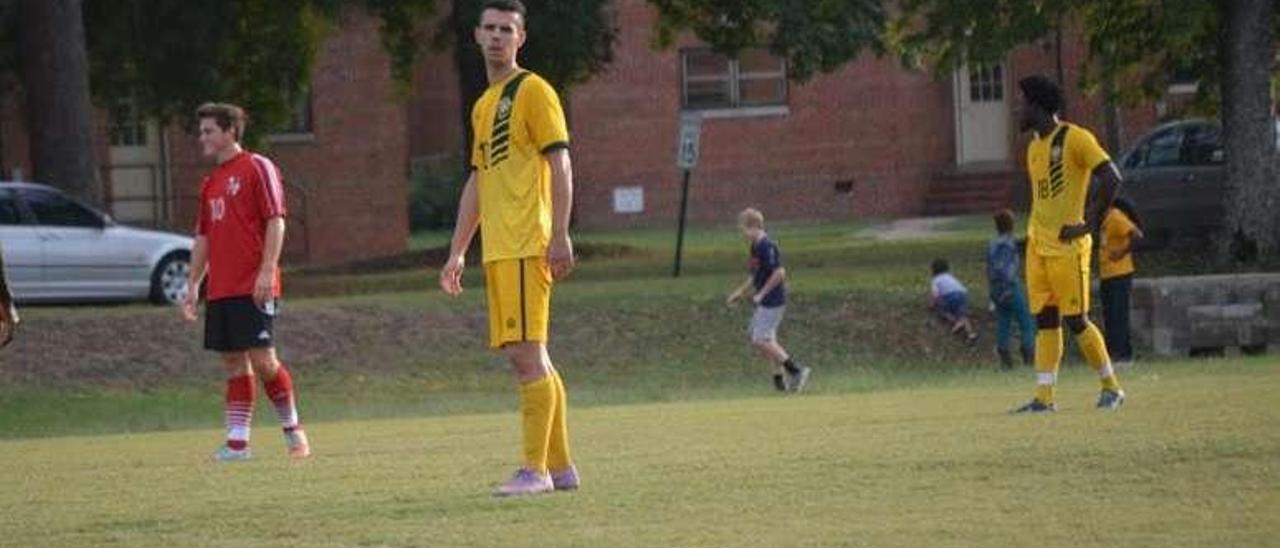 El futbolista cangués, durante un encuentro.