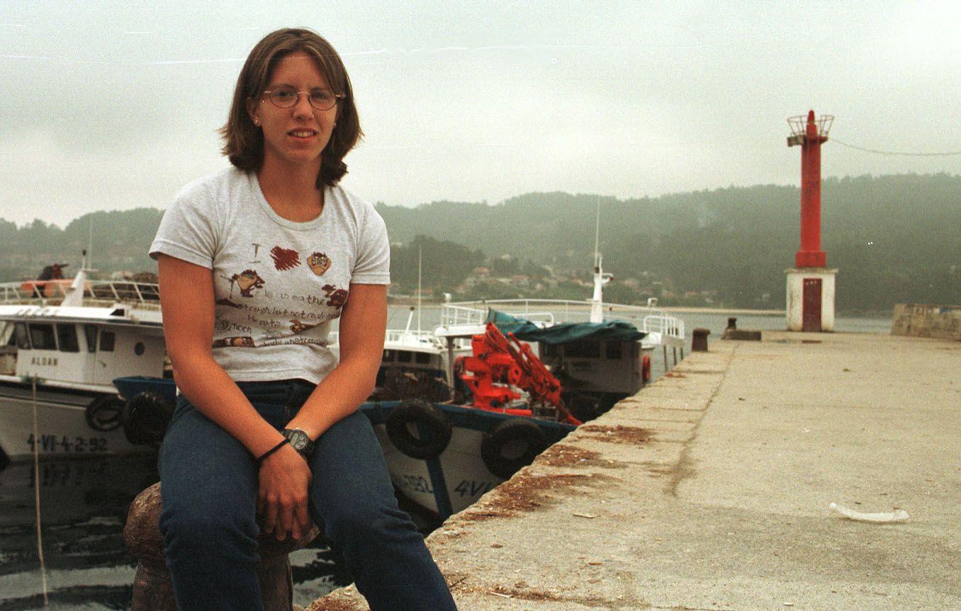 Teresa Portela en 2001, después de proclamarse campeona cadete de España en K-1500