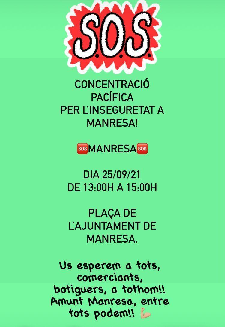 Cartell de la concentració del 25 de setembre per la inseguretat ciutadana a Manresa / Cartell promocional