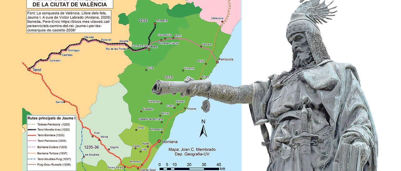 Rutas de Jaume I (cartografía elaborada por Joan Carles Membrado).