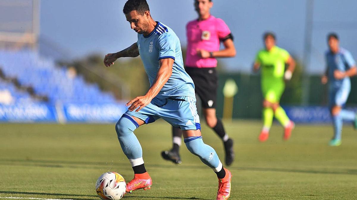Rubén Castro, durante el partido amistoso contra el Elche.   PRENSA FC CARTAGENA
