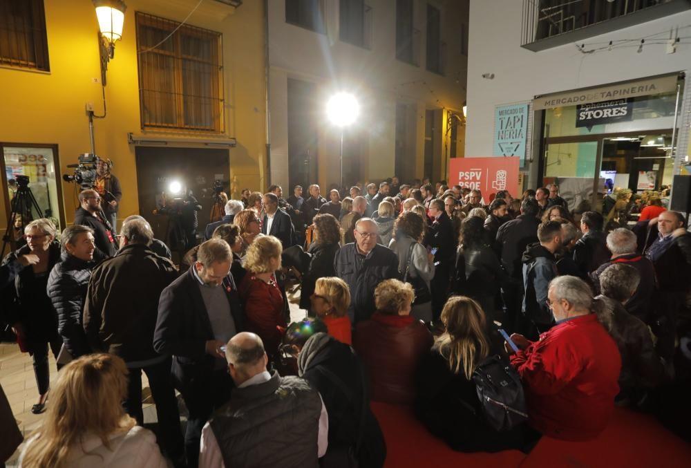 La noche electoral en la sede los partidos