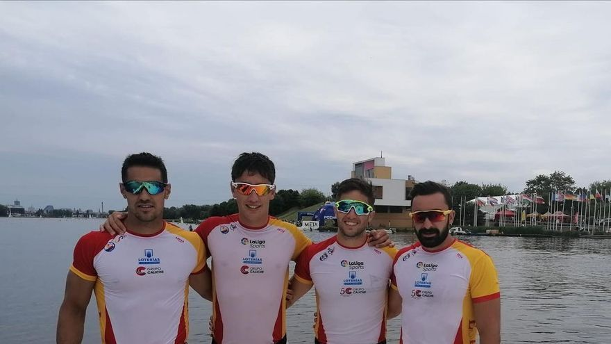 Los asturianos Javi López y Alberto Llera, quintos, en K-4 1.000 metros, en el Europeo de Poznan