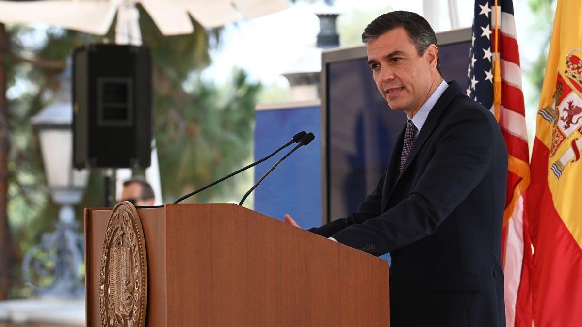El presidente del Gobierno, Pedro Sánchez, durante su discurso sobre el español en la Universidad de California.