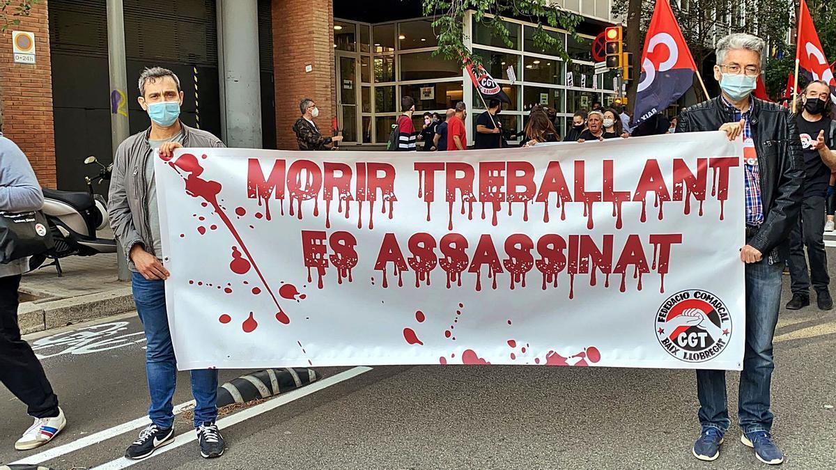 Una protesta contra la sinistralitat laboral, el maig passat.    ACN