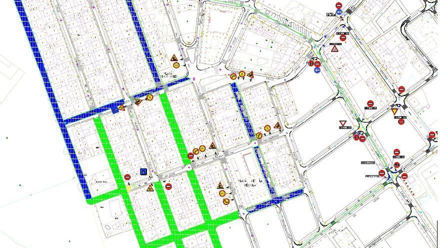 Cortes de tráfico para ejecutar las obras de reurbanización en el barrio de Rabasa