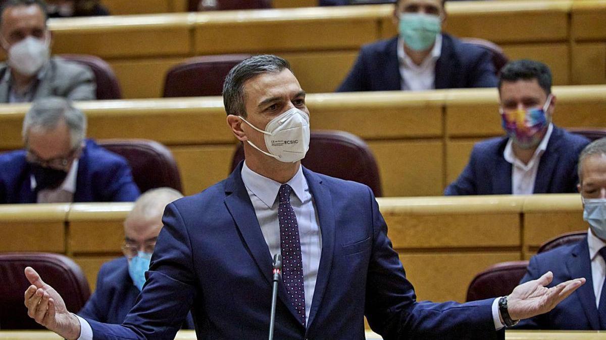 Pedro Sánchez durant la seva intervenció d'ahir al Senat.