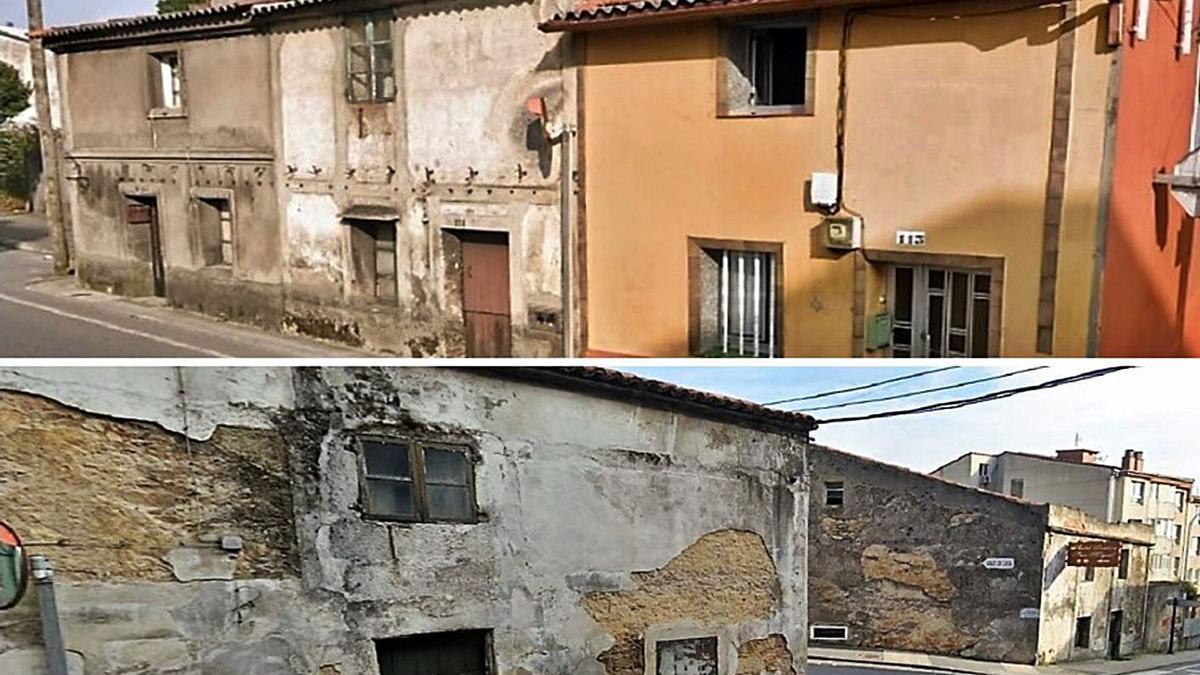 Las tres casas del cruce con el Paseo (arriba) y las tres del cruce con rúa Igrexa, que se demolerán. |  // L.O.