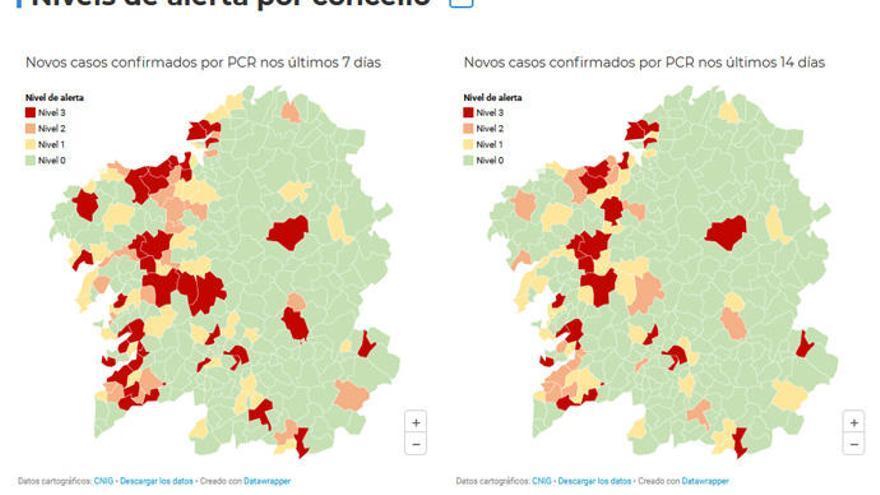 Las tres ciudades y once concellos de la provincia de A Coruña, en alerta roja