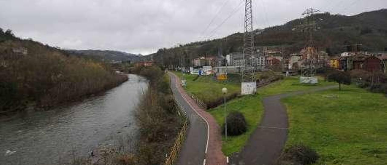 El río Nalón, a su paso por Ciaño.
