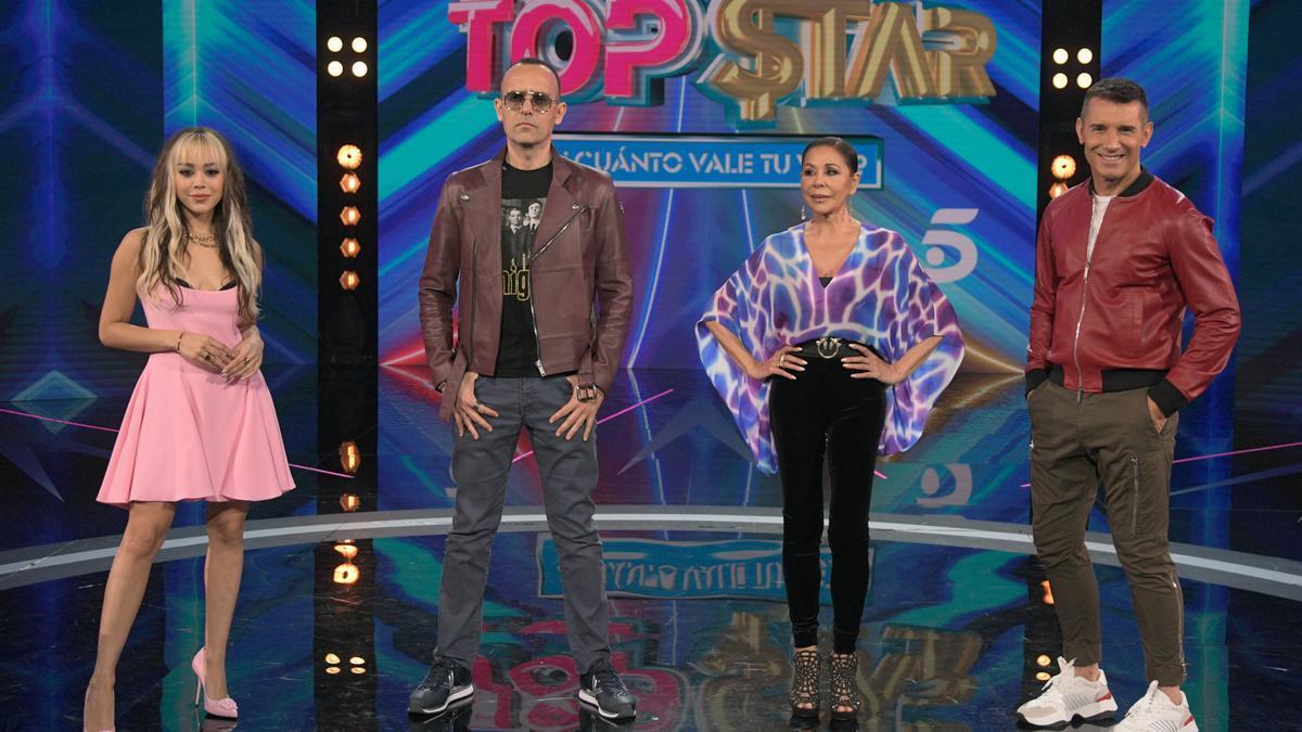 El jurado de 'Top Star', Danna Paola, Isabel Pantoja, Jesús Vázquez y Risto Mejide.