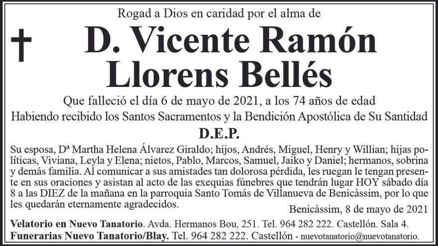 D. Vicente Ramón Llorens Bellés