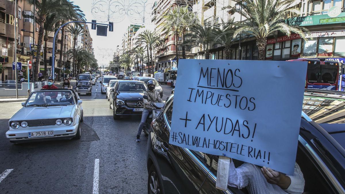 Imagen de una reciente protesta del sector del ocio nocturno y la hostelería por las medidas restrictivas.