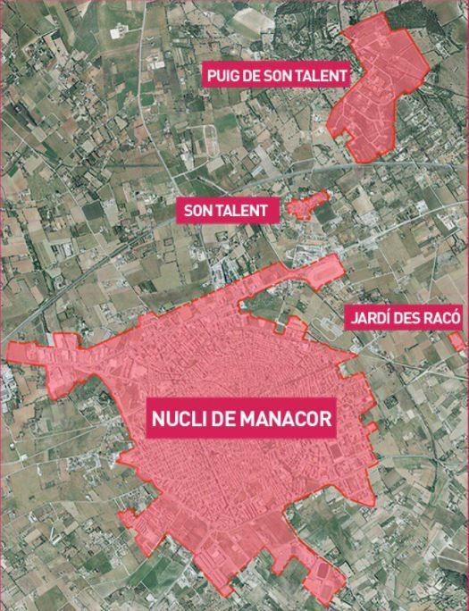 Mapa del cierre perimetral de Manacor.