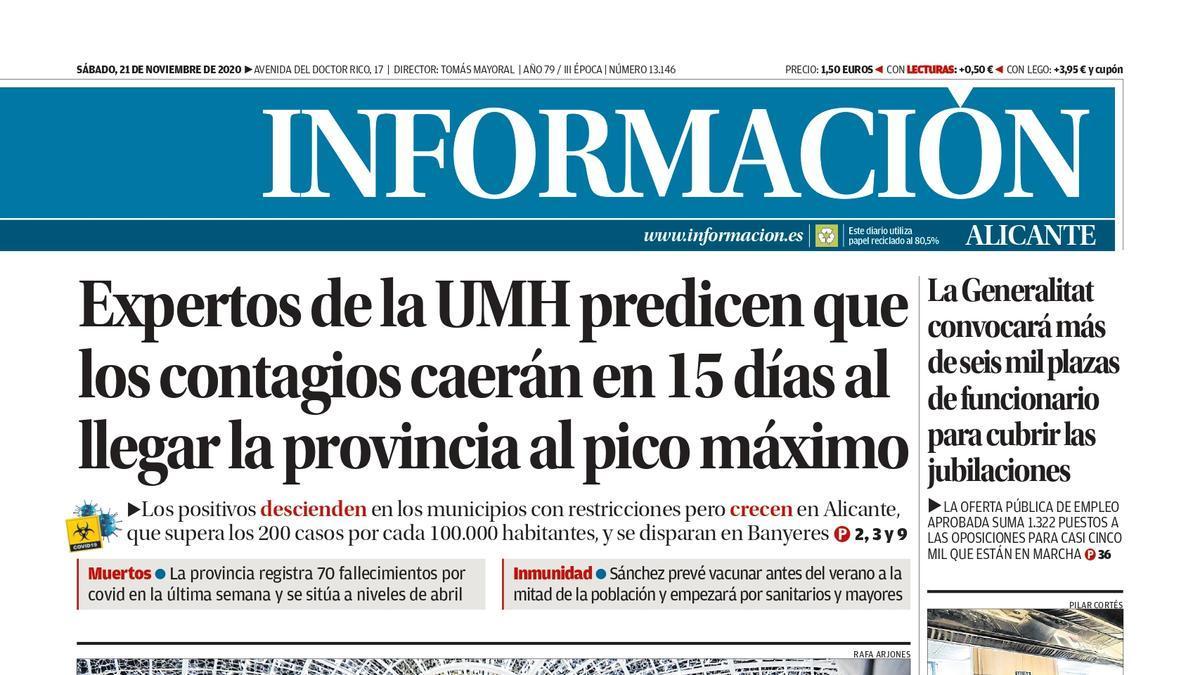 Portada del Diario Información del sábado 21 de noviembre de 2020