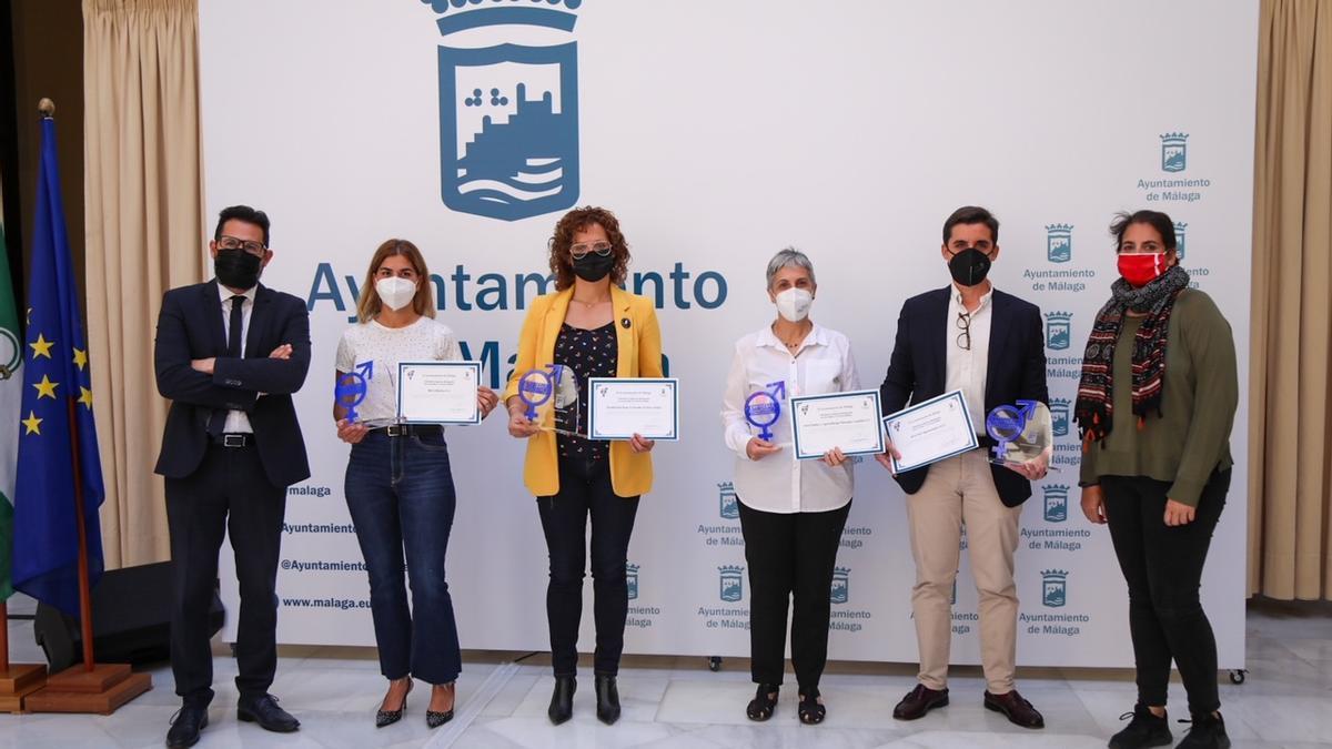 Algunos de los premiados por el área de Igualdad del Ayuntamiento de Málaga.