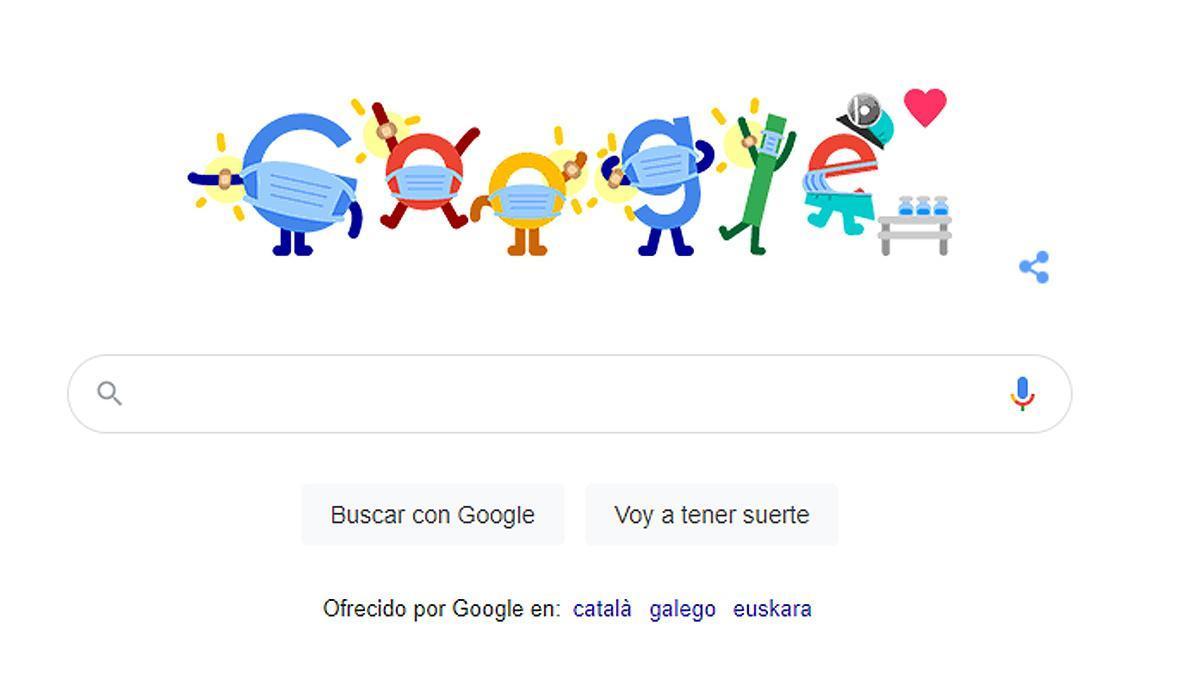El doodle de Google para fomentar la vacunación contra la Covid-19.