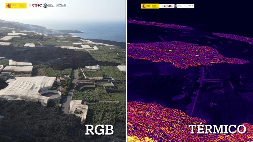 El avance de las coladas del volcán de La Palma, al natural y con cámara térmica