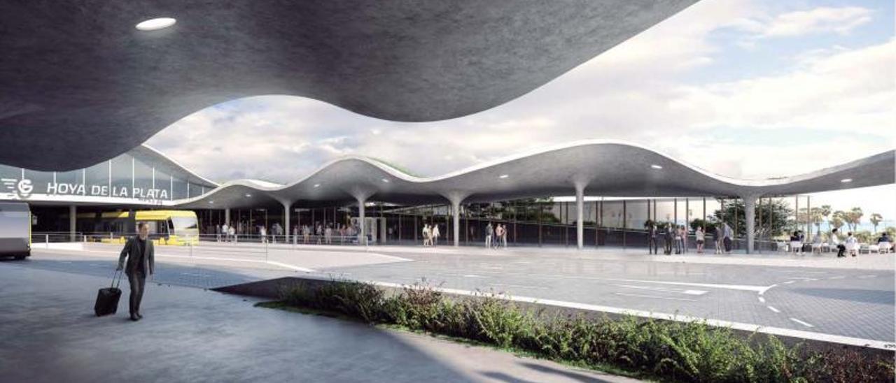 Recreación de cómo quedará la futura estación de la MetroGuagua en Hoya de la Plata. | | LP/DLP