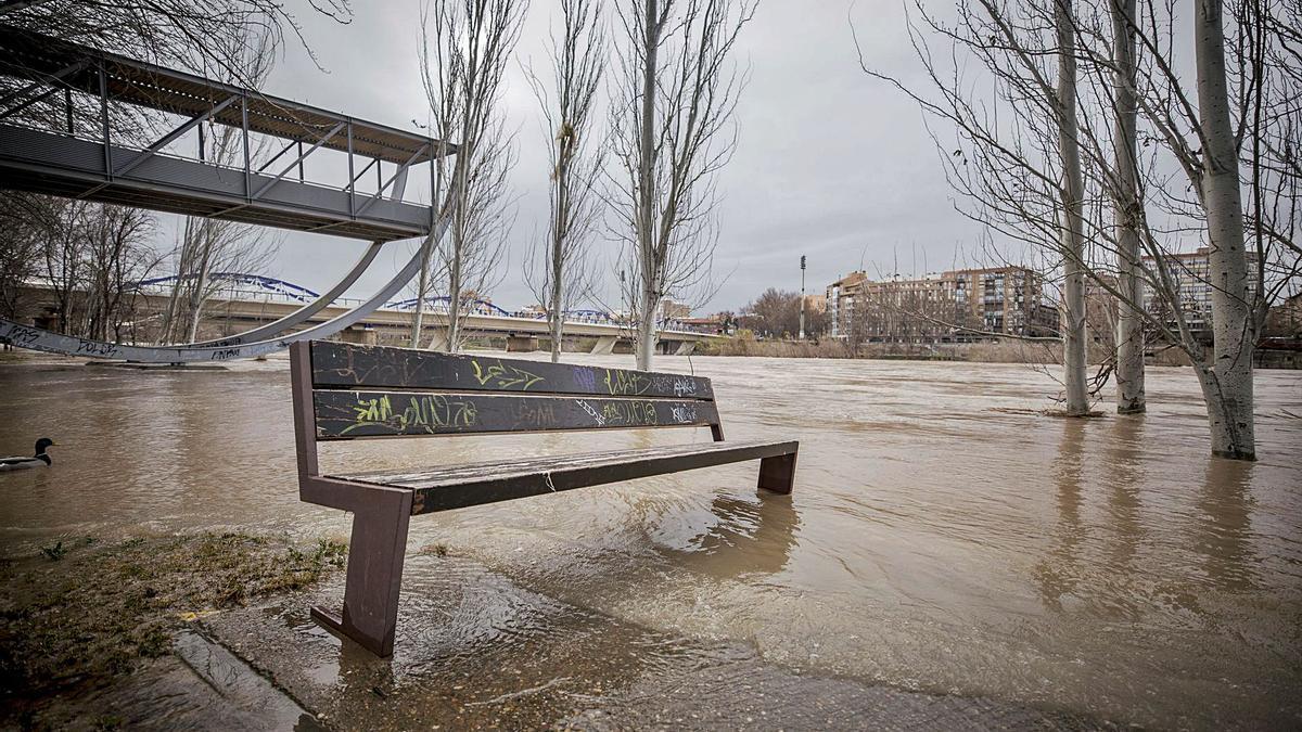 Una de las últimas subidas del Ebro a su paso por Zaragoza