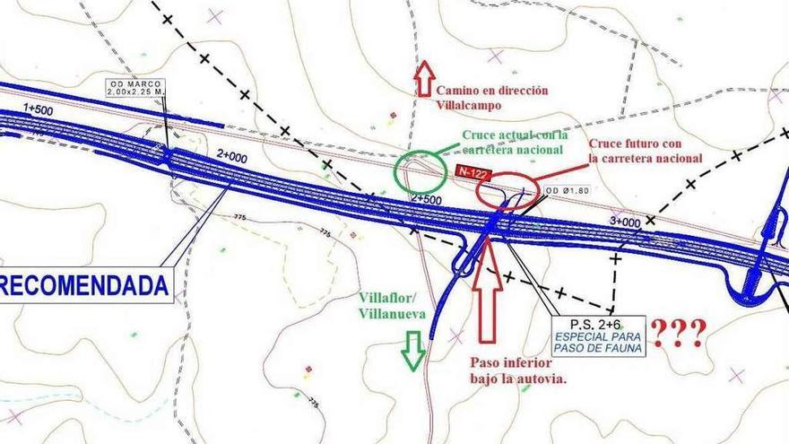 Proyecto actual, en el que la carretera de Villaflor se desplaza hacia el oeste por un paso inferior.