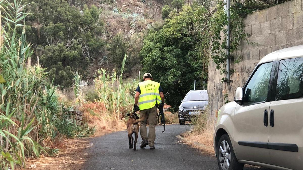 Uno de los agentes acompañado de un perro