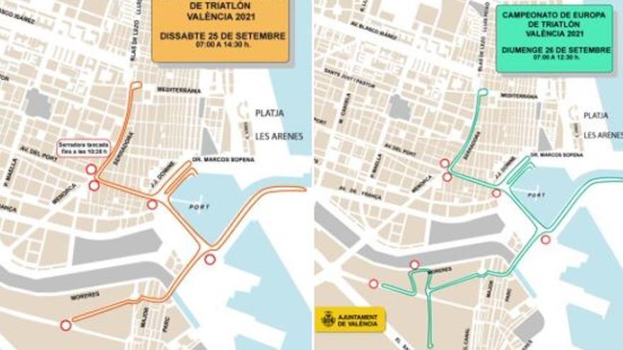 Calles cortadas y líneas de EMT desviadas por el triatlón en València