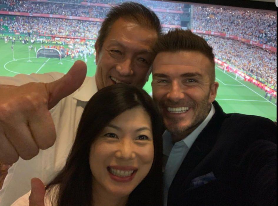 David Beckham y su hijo Romeo, dos valencianistas más