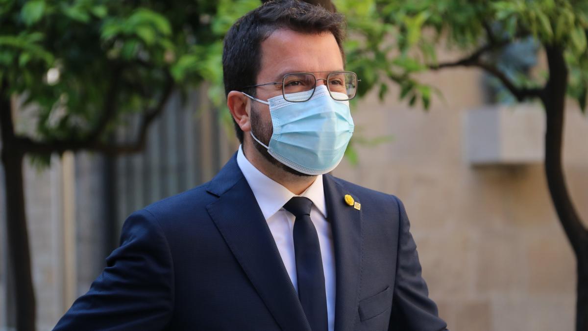 El President del Govern, Pere Aragonès, al palau de la Generalitat.