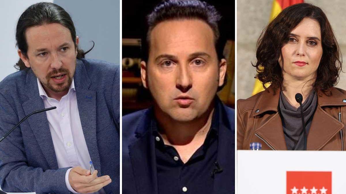 Pablo Iglesias, Iker Jiménez e Isabel Díaz Ayuso.