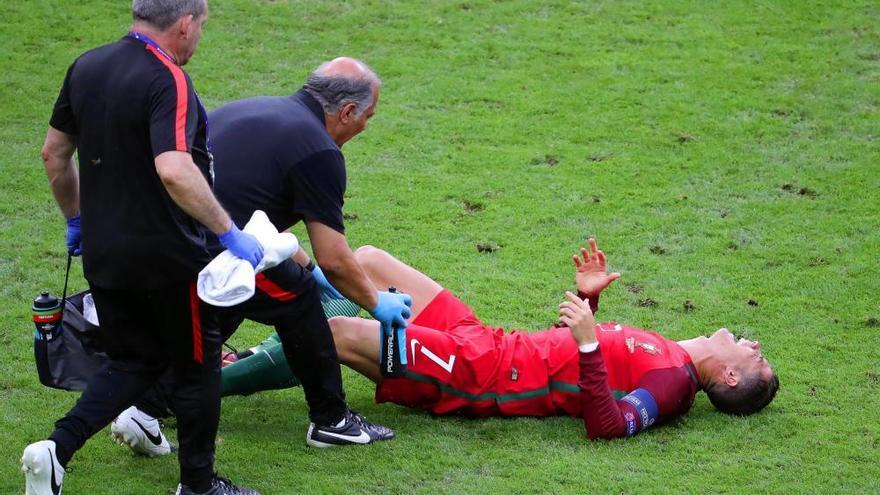 Las lágrimas de Cristiano Ronaldo tras su lesión en la final de la Eurocopa