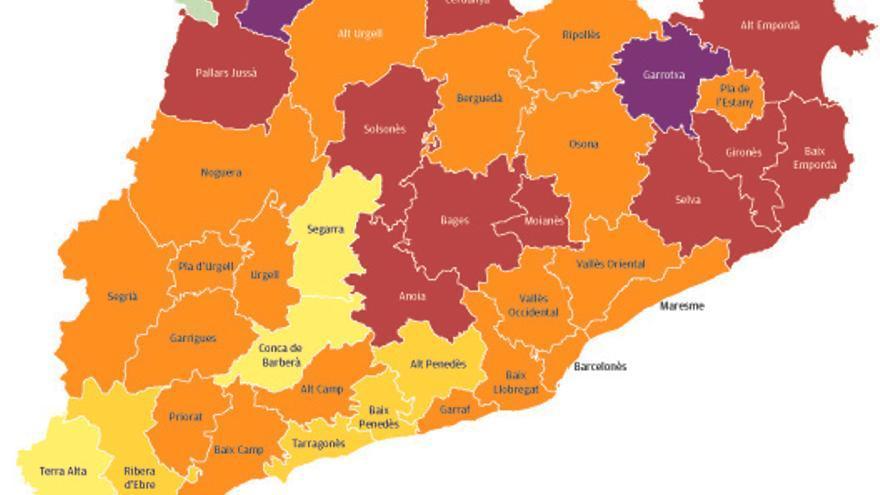 La Catalunya Central millora tot i continuar amb un risc alt