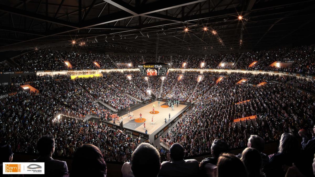 El Casal España Arena de València, durante un partido de baloncesto: así será la cancha.