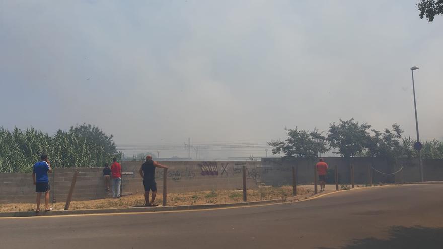 Un incendi de vegetació a tocar les vies del tren a Figueres causa una gran fumarada