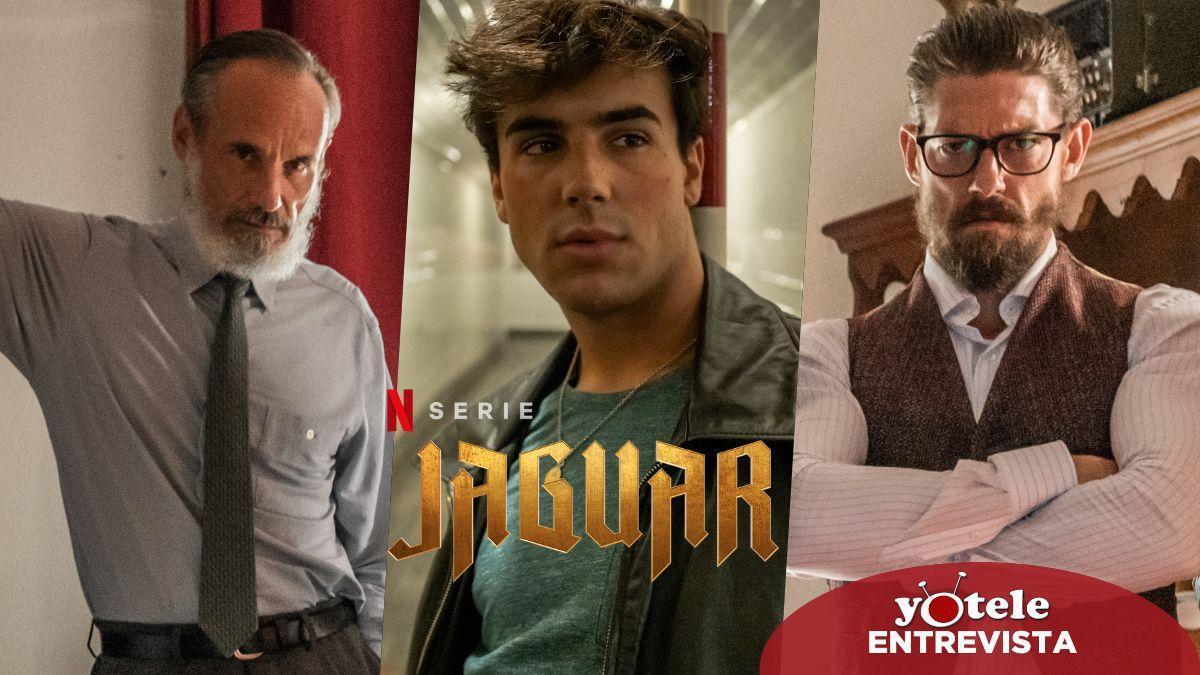 Francesc Garrido, Óscar Casas y Adrián Lastra en 'Jaguar', la nueva serie española de Netflix.
