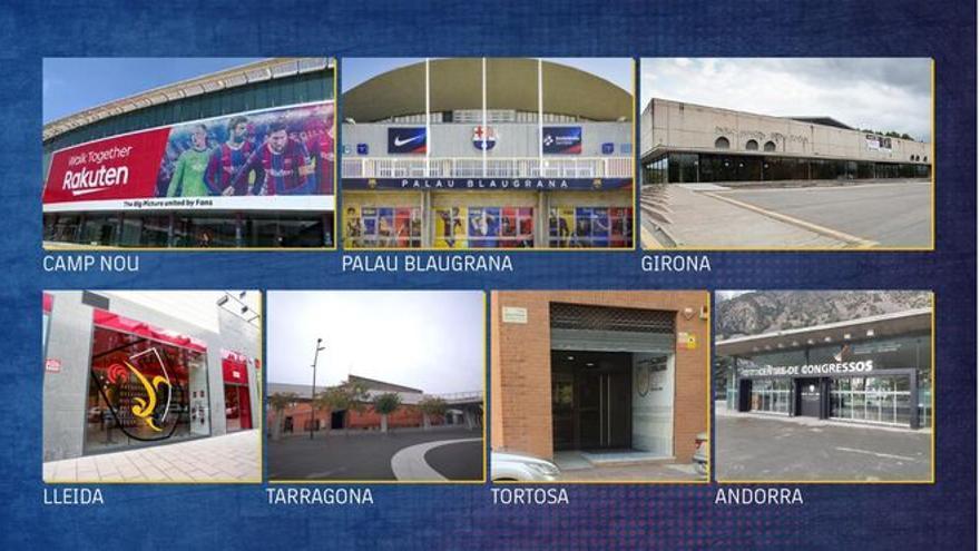 Las sedes de las elecciones del Barça