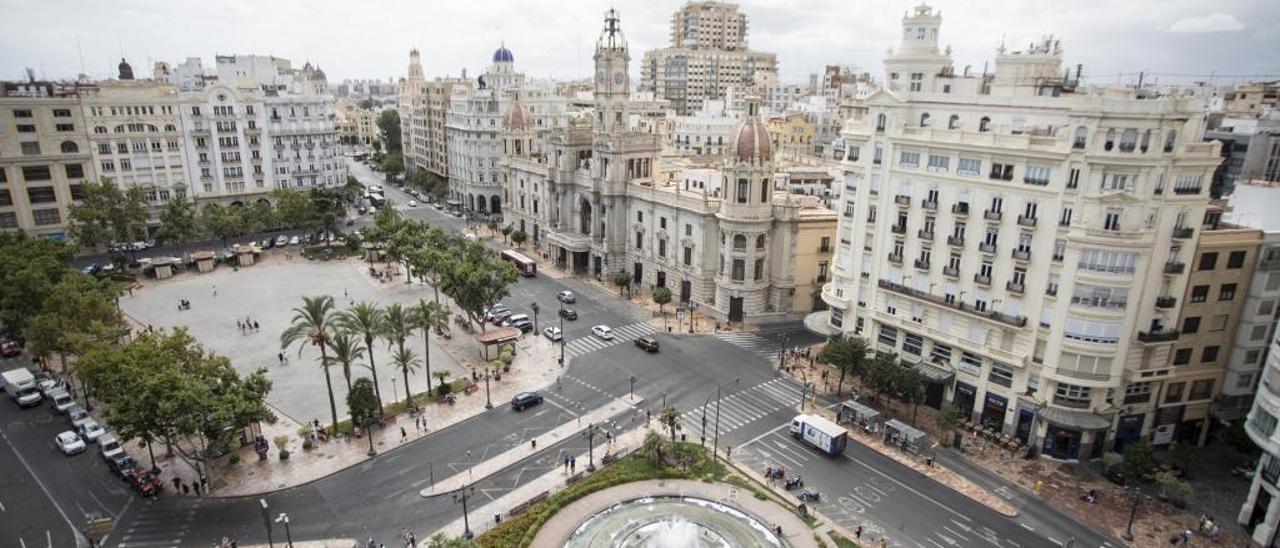 Imagen aérea de la Plaza del Ayuntamiento.