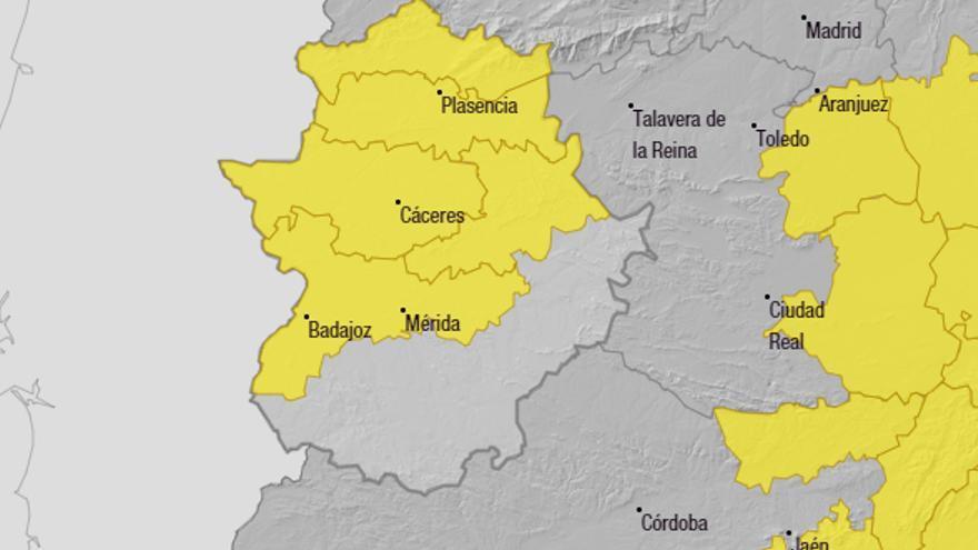 La provincia de Cáceres y las Vegas del Guadiana estarán en alerta amarilla por lluvias y tormentas este domingo
