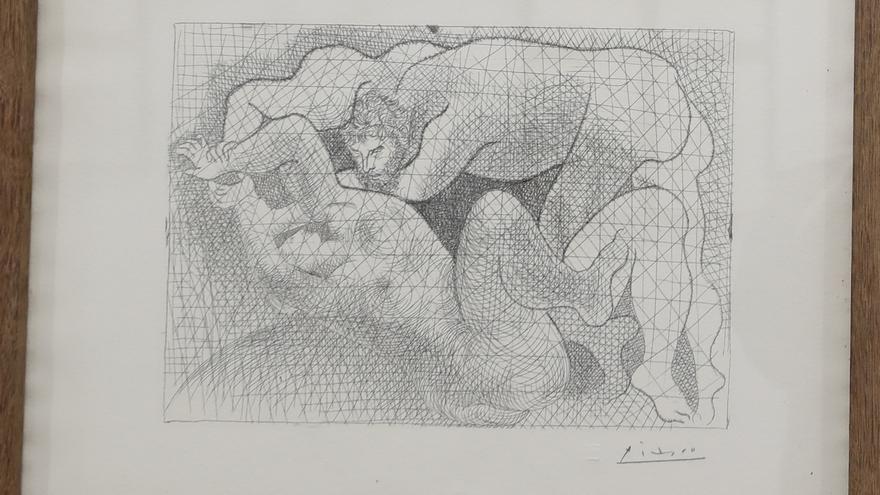 Pablo Picasso, Marcel Vertés, Manuel Colmeiro y Luis Seoane, en la Casa das Artes