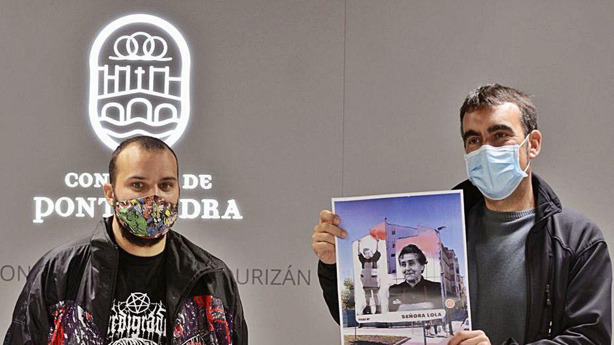 Yoseba Muruzábal y Xaquín Moreda presentan el mural