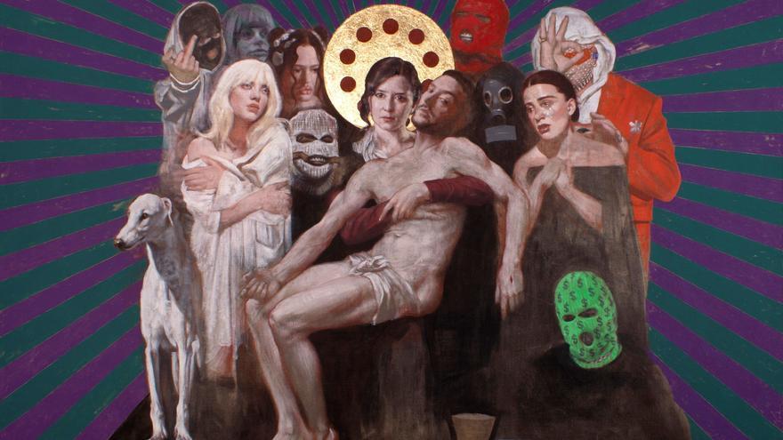 Ayuso y C. Tangana, retratados como la Virgen y Jesús en una 'Piedad' de 'Art Madrid'