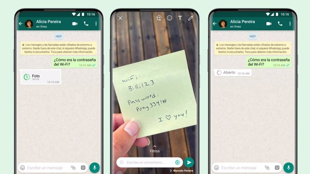 Now available in WhatsApp the multimedia files that are deleted after seeing them only once.