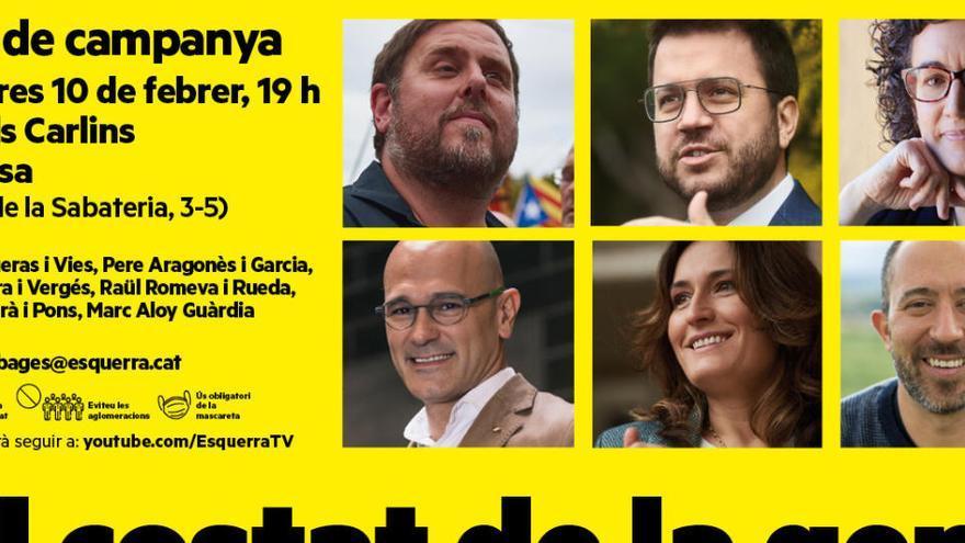 Dimecres hi haurà un acte central d'ERC a Manresa amb Junqueras, Aragonès, Rovira, Romeva, Vilagrà i Aloy