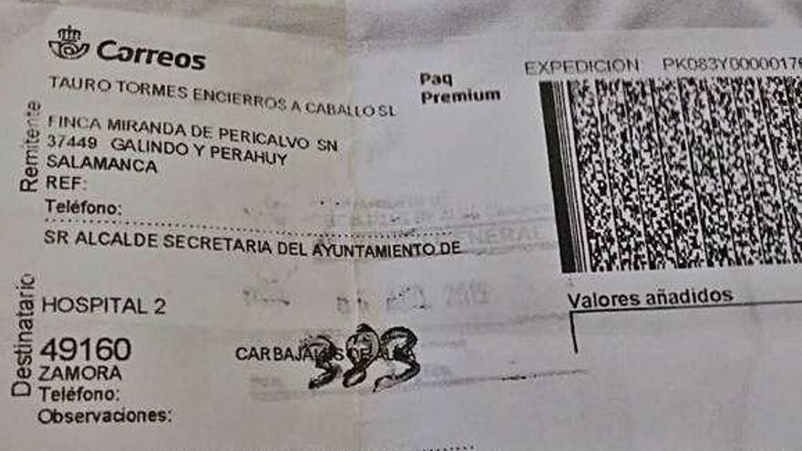 Certificado de la oferta presentada en Carbajales por Tauro Tormes.