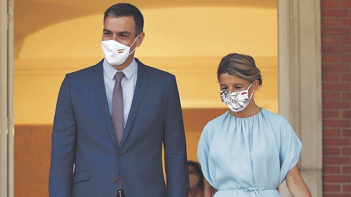 El presidente del Gobierno, Pedro Sánchez, y la vicepresidenta segunda, Yolanda Díaz, el pasado 13 de julio, en la Moncloa.