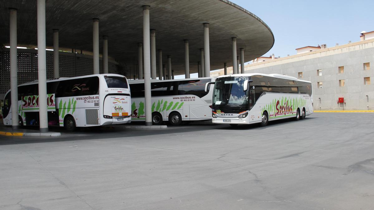 Un autobús de Socibus en la estación de Córdoba.