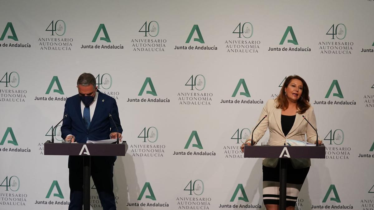 Elías Bendodo y Carmen Crespo comparecen tras el Consejo de Gobierno