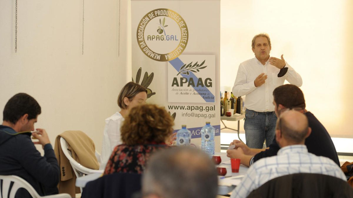 El experto en olivicultura Ramón Pulgar, hoy en A Estrada, impartiendo el curso avanzado de cata de aceites de oliva. // Bernabé / Javier Lalín